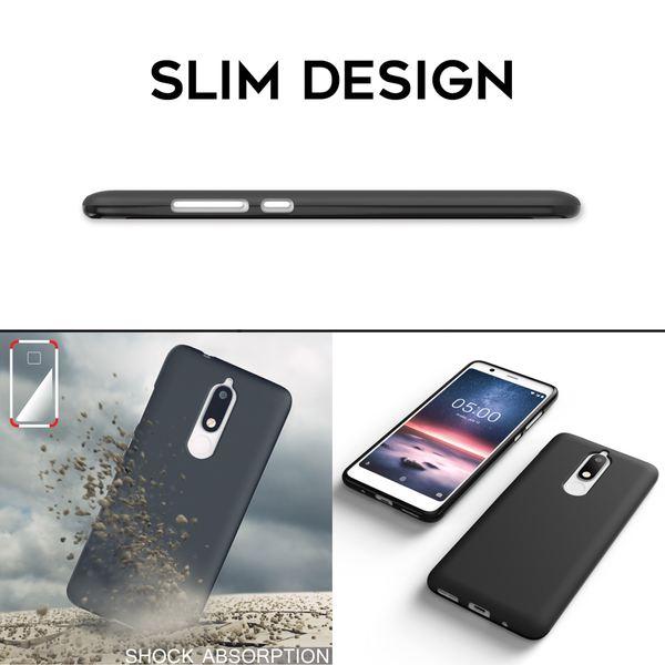 NALIA Hülle kompatibel mit Nokia 5.1 2018, Ultra-Slim Handyhülle Silikon Case Cover, Dünne matte Schutzhülle, Etui Handy-Tasche Back-Cover Bumper, TPU Smartphone Gummihülle - Schwarz – Bild 7
