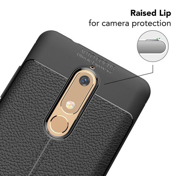 NALIA Leder-Look Handyhülle kompatibel mit Nokia 5.1 2018, Ultra-Slim Hülle Silikon Case Cover, Dünne Phone Schutzhülle, Stoßfeste Etui Handy-Tasche Back-Cover Bumper, Smartphone Gummihülle - Schwarz – Bild 3