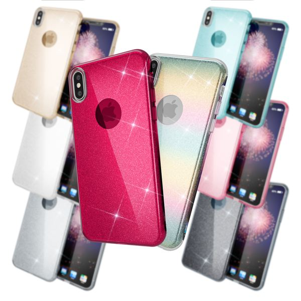 NALIA Hülle kompatibel mit iPhone XS Max, Handyhülle Glitzer Ultra-Slim Silikon-Case Back-Cover Schutzhülle, Glitter Sparkle Handy-Tasche Bumper Dünnes Bling Strass Etui Schutz – Bild 1