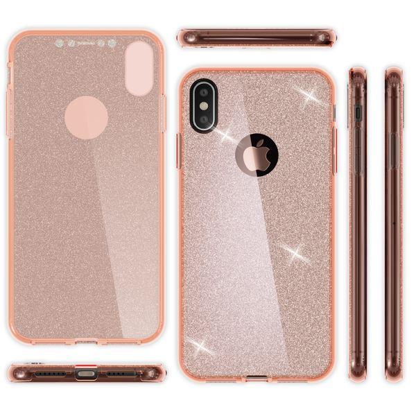 NALIA 360 Grad Hülle kompatibel mit iPhone XS Max, Glitter Handyhülle Full Cover vorne & hinten Doppel-Schutz Dünnes Ganzkörper Case Silikon Transparenter Displayschutz & Rückseite – Bild 8