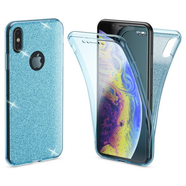 NALIA 360 Grad Hülle kompatibel mit iPhone XS Max, Glitter Handyhülle Full Cover vorne & hinten Doppel-Schutz Dünnes Ganzkörper Case Silikon Transparenter Displayschutz & Rückseite – Bild 16