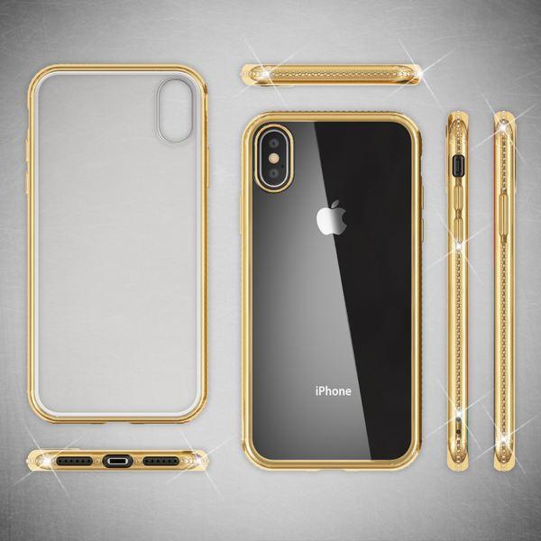 NALIA Hülle kompatibel mit iPhone X XS, Dünne Handyhülle Ultra-Slim Silikon Case Transparente Rückseite & Strass Bumper, Crystal Schutzhülle Cover, Backcover Etui Handy-Tasche – Bild 15