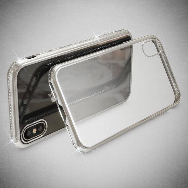 NALIA Hülle kompatibel mit iPhone XS Max, Durchsichtige Handyhülle Ultra-Slim Silikon Case Transparente Rückseite & Strass-Bumper, Crystal Schutzhülle Cover Backcover Handy-Tasche – Bild 7