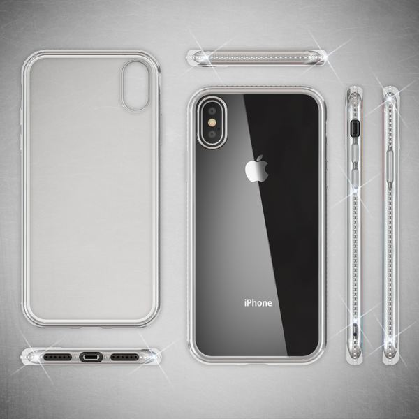 NALIA Hülle kompatibel mit iPhone XS Max, Durchsichtige Handyhülle Ultra-Slim Silikon Case Transparente Rückseite & Strass-Bumper, Crystal Schutzhülle Cover Backcover Handy-Tasche – Bild 8