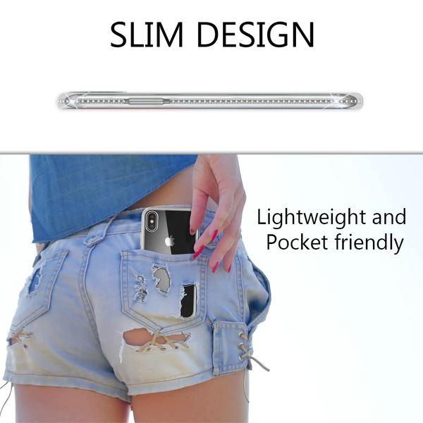 NALIA Hülle kompatibel mit iPhone XS Max, Durchsichtige Handyhülle Ultra-Slim Silikon Case Transparente Rückseite & Strass-Bumper, Crystal Schutzhülle Cover Backcover Handy-Tasche – Bild 5