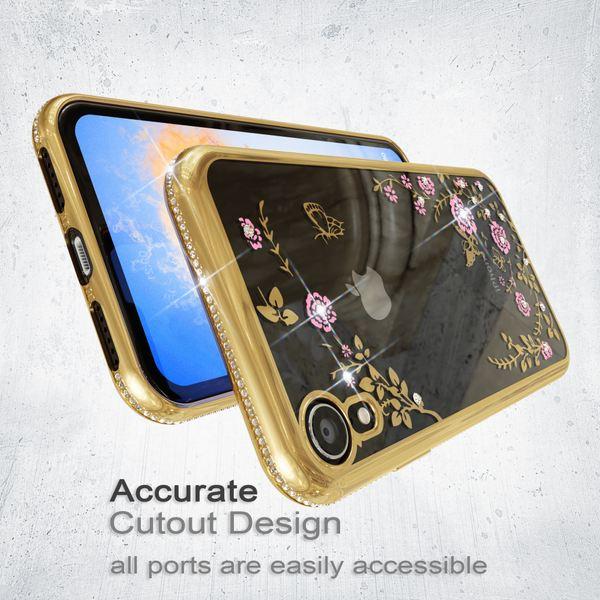 NALIA Hülle kompatibel mit iPhone XR, Durchsichtige Handyhülle Ultra-Slim Silikon Phone Case Blumen, Metall-Optik Dünne Schutzhülle Glitzer Backcover Bling Cover Etui Bumper Handy-Tasche – Bild 12