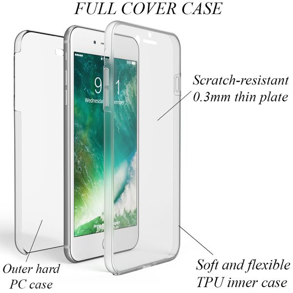 NALIA 360 Grad Handyhülle kompatibel mit Apple iPhone 8 Plus / 7 Plus, Full-Cover Silikon Bumper mit Displayschutz vorne Hardcase hinten, Hülle Doppel-Schutz Dünn Case Handy-Tasche – Bild 3