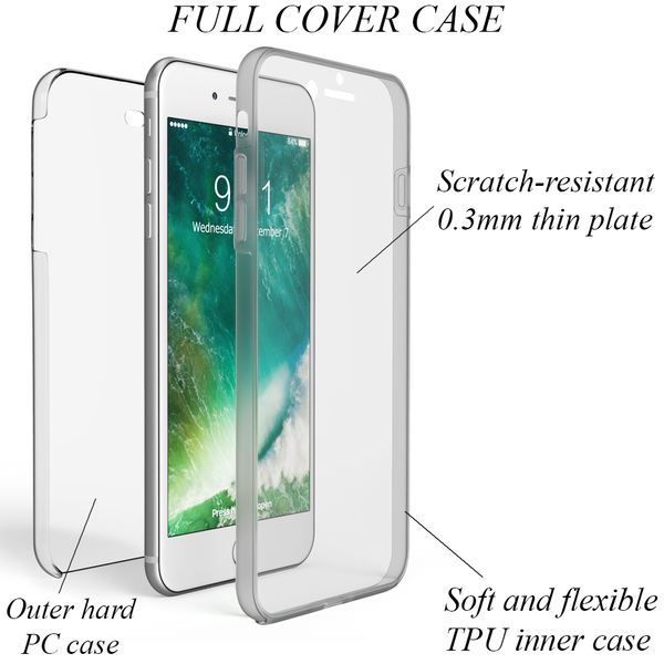 NALIA 360 Grad Handyhülle kompatibel mit Apple iPhone 8 Plus / 7 Plus, Full-Cover Silikon Bumper mit Displayschutz vorne Hardcase hinten, Hülle Doppel-Schutz Dünn Case Handy-Tasche – Bild 10