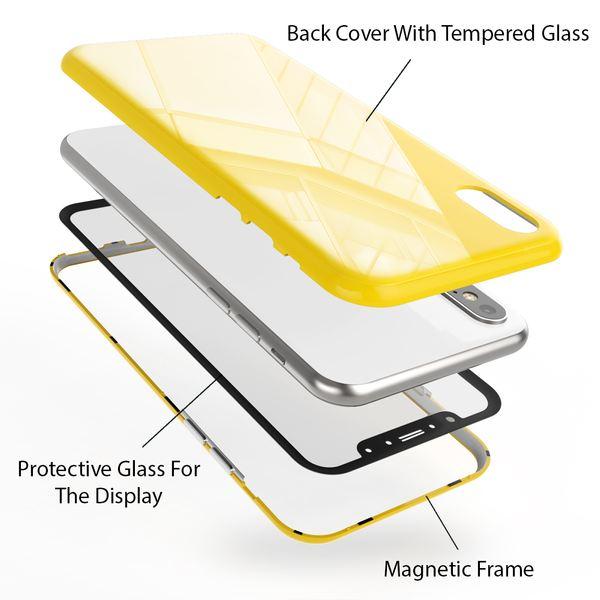 NALIA Magnetische 360° Glas Hülle kompatibel mit iPhone X XS, Ultra-Slim Hard-Case Dünn Hartglas Back-Cover mit Rahmen & Display-Schutz, Full-Body Schutzhülle Bumper Handy-Tasche Etui – Bild 4