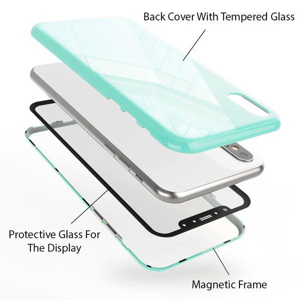 NALIA Magnetische 360° Glas Hülle kompatibel mit iPhone X XS, Ultra-Slim Hard-Case Dünn Hartglas Back-Cover mit Rahmen & Display-Schutz, Full-Body Schutzhülle Bumper Handy-Tasche Etui – Bild 25