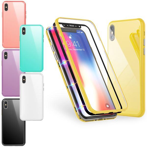 NALIA Magnetische 360° Glas Hülle kompatibel mit iPhone XS Max, Ultra-Slim Hard-Case Dünnes Hartglas Back-Cover mit Rahmen & Display-Schutz, Full-Body Schutzhülle Bumper Handy-Tasche – Bild 1