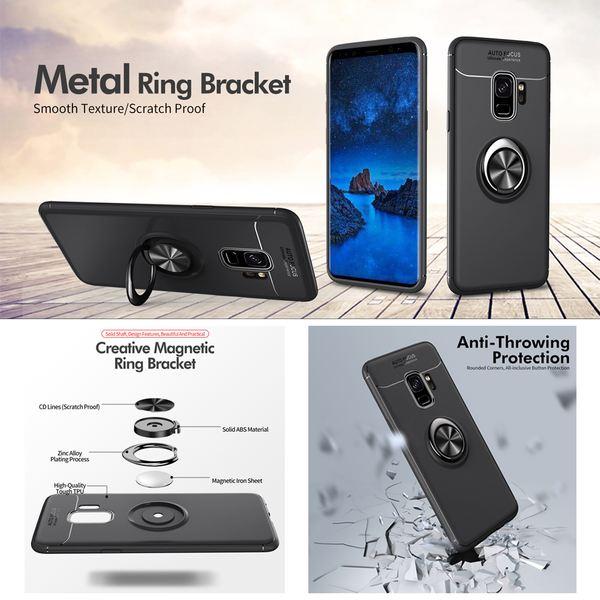 NALIA magnetische Ring Hülle kompatibel mit Samsung Galaxy S9 Plus, Schutzhülle Cover Silikon Handyhülle für KFZ-Halterung 360-Grad Finger-Halter, Case Dünn Ständer Slim Etui Bumper - Schwarz – Bild 3