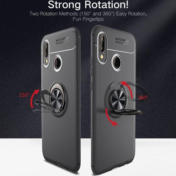 NALIA Ring Hülle kompatibel mit Huawei P20 Lite, Schutzhülle Cover magnetische Silikon Handyhülle für KFZ-Halterung 360-Grad Finger-Halter, Case Dünn Smartphone Ständer Slim Etui Bumper - Schwarz – Bild 2