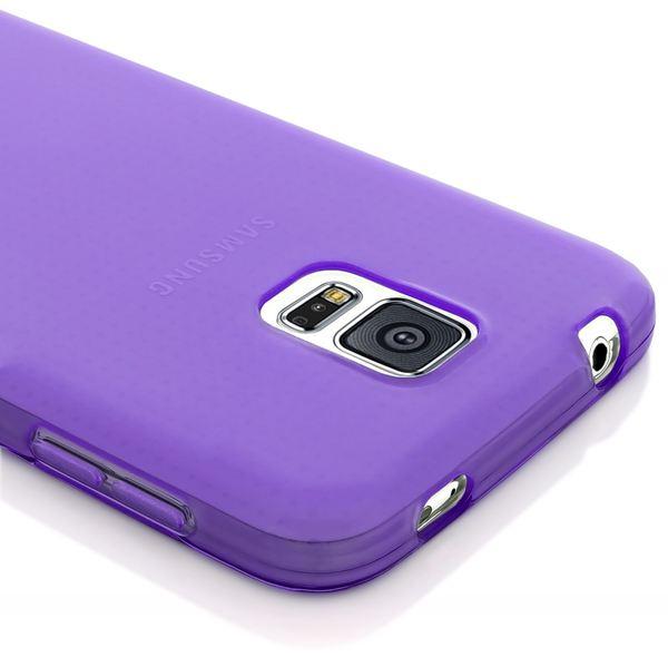 NALIA Handyhülle kompatibel mit Samsung Galaxy S5 S5 Neo, Hülle Ultra-Slim Silikon Case Dünn Crystal Schutzhülle, Etui Handy-Tasche Back-Cover Bumper, Thin Smart-Phone Gummihülle - Transparent / Lila – Bild 4