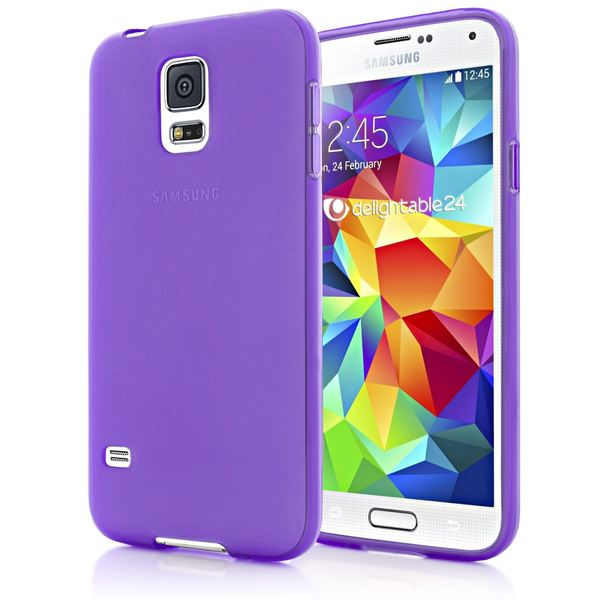 NALIA Handyhülle kompatibel mit Samsung Galaxy S5 S5 Neo, Hülle Ultra-Slim Silikon Case Dünn Crystal Schutzhülle, Etui Handy-Tasche Back-Cover Bumper, Thin Smart-Phone Gummihülle - Transparent / Lila – Bild 1