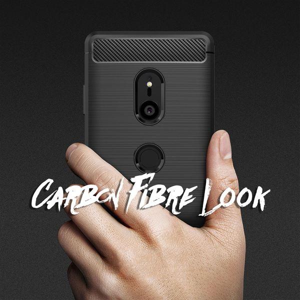 NALIA Hülle kompatibel mit Sony Xperia XZ3, Ultra-Slim Handyhülle Silikon Case Cover, Dünne Carbon Phone Schutzhülle, Etui Handy-Tasche Backcover Bumper, TPU Smartphone Gummihülle  - Schwarz – Bild 6
