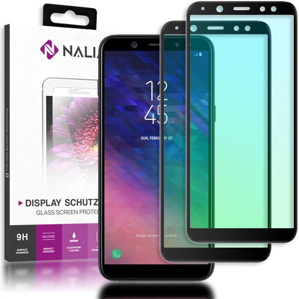 NALIA (2-Pack) Schutzglas kompatibel mit Samsung Galaxy A6, 9H Full-Cover Display Schutz Glas-Folie, Dünne Handy Schutzfolie Bildschirm-Abdeckung, Schutz-Film Screen Protector - Transparent (schwarz) – Bild 1