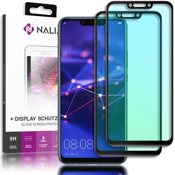 NALIA (2-Pack) Schutzglas kompatibel mit Huawei Mate 20 Lite, 9H Full-Cover Display Schutz Glas-Folie, Dünne Handy Schutzfolie Bildschirm-Abdeckung, HD Schutz-Film Protector - Transparent (schwarz) – Bild 1
