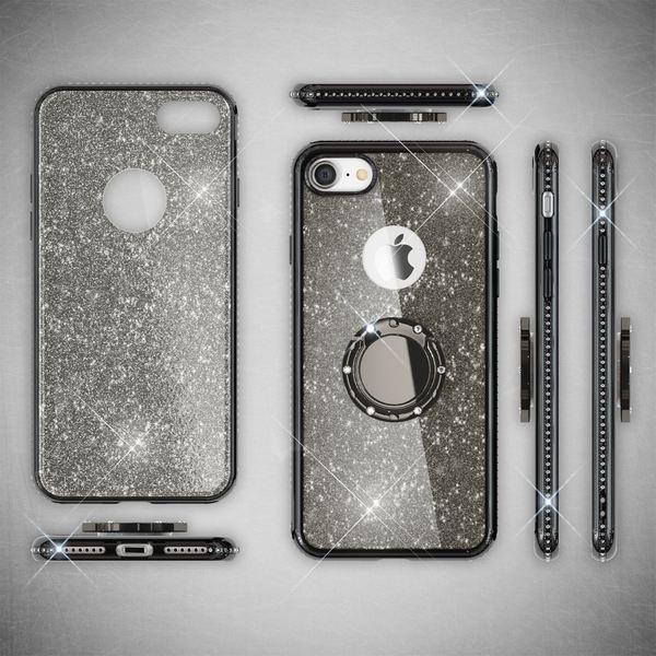 NALIA Ring Hülle kompatibel mit Apple iPhone 8, Glitzer Handyhülle Ultra-Slim Silikon Case Back-Cover mit 360-Grad Fingerhalterung, Schutzhülle Glitter Handy-Tasche Bumper Bling Etui – Bild 8
