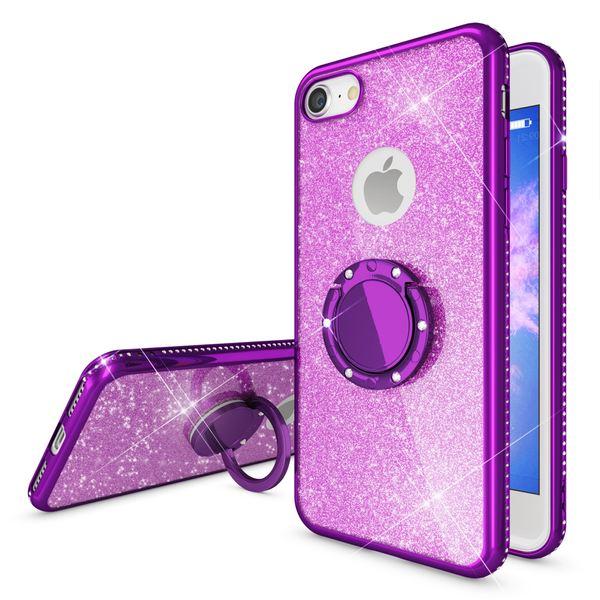 NALIA Ring Hülle kompatibel mit Apple iPhone 8, Glitzer Handyhülle Ultra-Slim Silikon Case Back-Cover mit 360-Grad Fingerhalterung, Schutzhülle Glitter Handy-Tasche Bumper Bling Etui – Bild 9