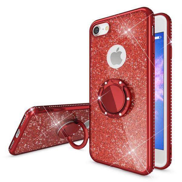 NALIA Ring Hülle kompatibel mit Apple iPhone 8, Glitzer Handyhülle Ultra-Slim Silikon Case Back-Cover mit 360-Grad Fingerhalterung, Schutzhülle Glitter Handy-Tasche Bumper Bling Etui – Bild 23