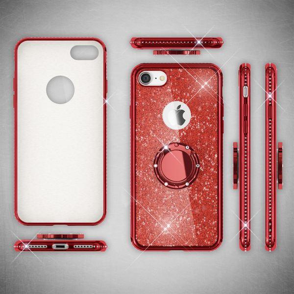 NALIA Ring Hülle kompatibel mit Apple iPhone 8, Glitzer Handyhülle Ultra-Slim Silikon Case Back-Cover mit 360-Grad Fingerhalterung, Glitter Handy-Tasche Bumper, Bling Phone Etui – Bild 24