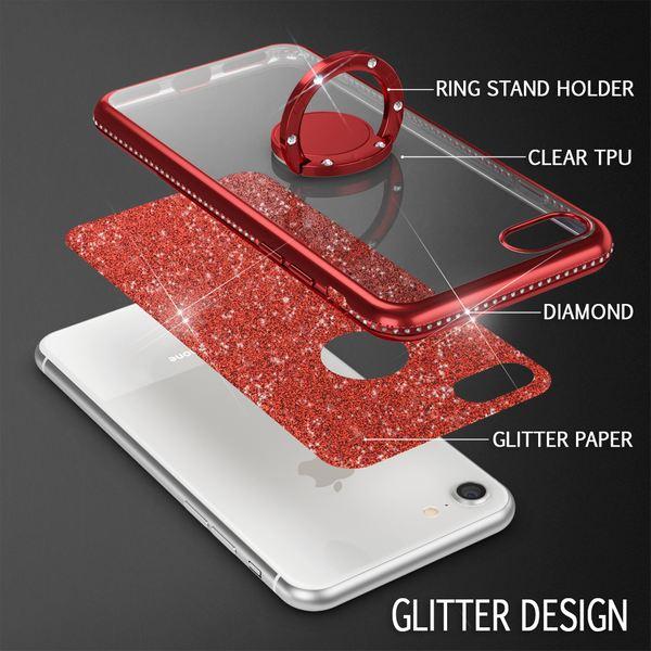 NALIA Ring Hülle kompatibel mit Apple iPhone 8, Glitzer Handyhülle Ultra-Slim Silikon Case Back-Cover mit 360-Grad Fingerhalterung, Schutzhülle Glitter Handy-Tasche Bumper Bling Etui – Bild 25