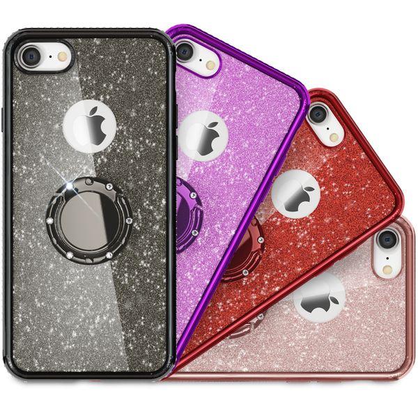 NALIA Ring Hülle kompatibel mit Apple iPhone 8, Glitzer Handyhülle Ultra-Slim Silikon Case Back-Cover mit 360-Grad Fingerhalterung, Schutzhülle Glitter Handy-Tasche Bumper Bling Etui – Bild 1