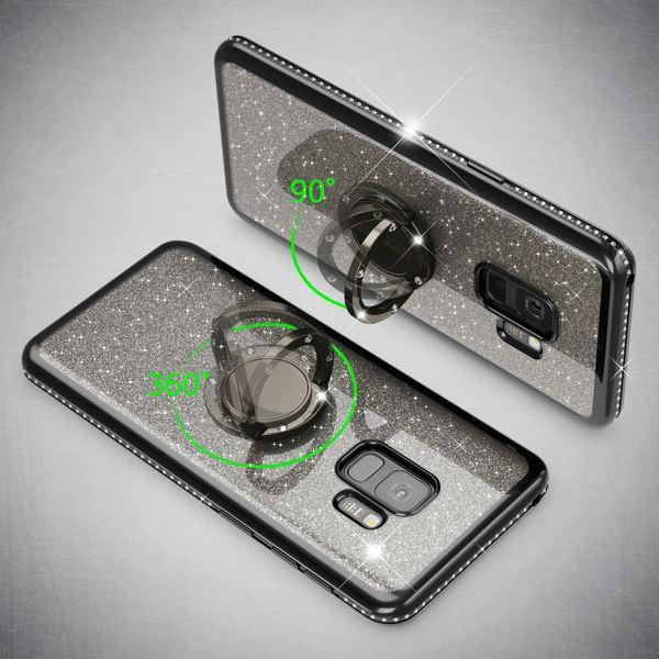 NALIA Ring Hülle kompatibel mit Samsung Galaxy S9, Glitzer Handyhülle Ultra-Slim Silikon Case Back-Cover mit 360-Grad Fingerhalterung, Glitter Handy-Tasche Bumper, Bling Phone Etui – Bild 6