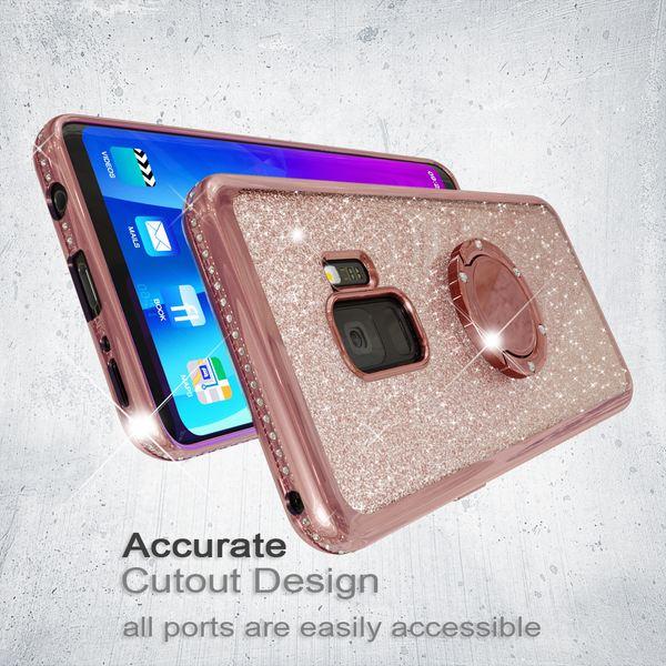 NALIA Ring Hülle kompatibel mit Samsung Galaxy S9, Glitzer Handyhülle Ultra-Slim Silikon Case Back-Cover mit 360-Grad Fingerhalterung, Glitter Handy-Tasche Bumper, Bling Phone Etui – Bild 5