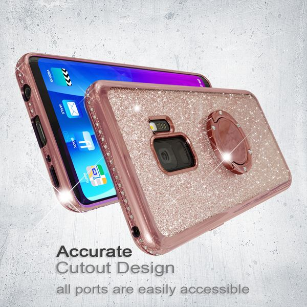 NALIA Ring Hülle kompatibel mit Samsung Galaxy S9, Glitzer Handyhülle Ultra-Slim Silikon Case Back-Cover mit 360-Grad Fingerhalterung, Glitter Handy-Tasche Bumper, Bling Phone Etui – Bild 12