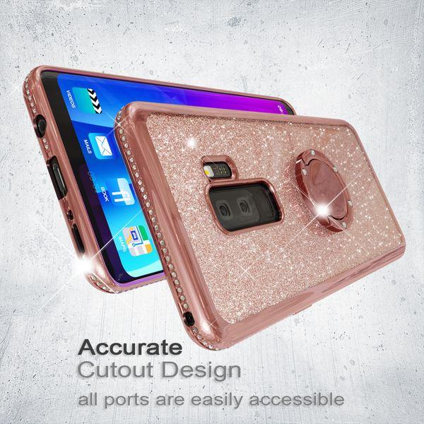 NALIA Ring Hülle kompatibel mit Samsung S9 Plus, Glitzer Handyhülle Ultra-Slim Silikon Case Back-Cover mit 360-Grad Fingerhalterung, Glitter Handy-Tasche Bumper, Bling Phone Etui – Bild 19