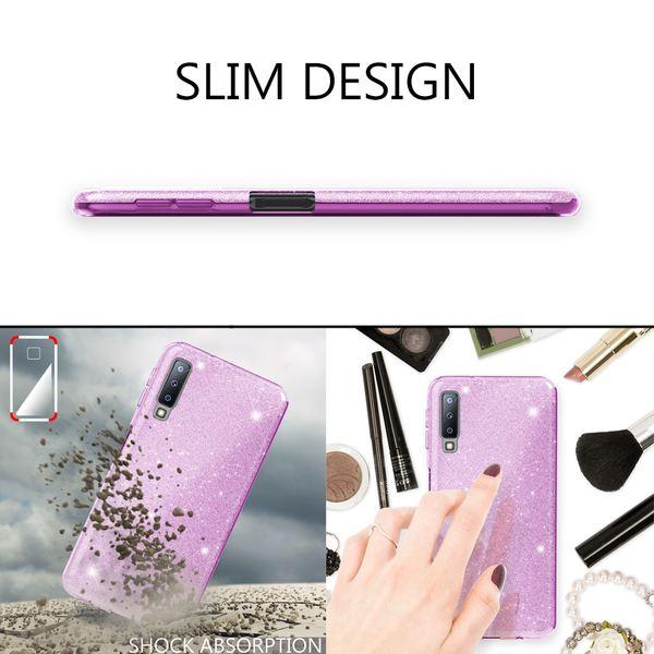 NALIA Hülle kompatibel mit Samsung Galaxy A7 2018, Glitzer Handyhülle Ultra-Slim Silikon-Case Back-Cover Schutzhülle, Glitter Sparkle Handy-Tasche Bumper Dünnes Bling Strass Etui – Bild 7