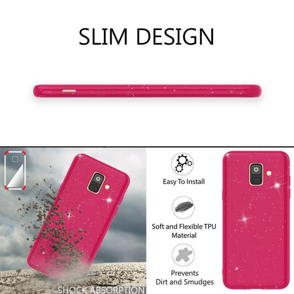 NALIA Glitzer Hülle kompatibel mit Samsung Galaxy A6, Schimmernde Ultra-Slim Silikon Handyhülle Cover Glitter Schutzhülle, Dünnes Case Etui Handy-Tasche Bumper Phone Skin Backcover – Bild 6