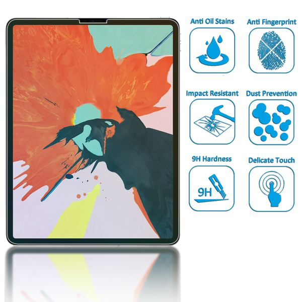 "NALIA Schutz-Glas kompatibel mit Apple iPad Pro 2018 (12,9""), 2.5D Round Edge Full-Cover Display-Schutzfolie durchsichtig / 0.3mm Tablet Abdeckung Schutzfolie Hartglas Panzerfolie - Kristall Klar – Bild 2"