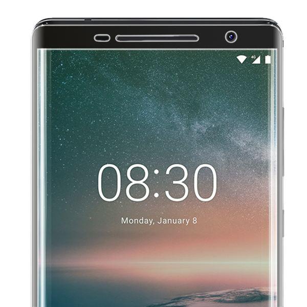 NALIA Schutzglas kompatibel mit Nokia 8 Sirocco, 9H Full-Cover Display Schutz Glas-Folie, Dünne Handy Schutzfolie Bildschirm-Abdeckung, Schutz-Film Clear HD Screen Protector - Transparent (schwarz) – Bild 5