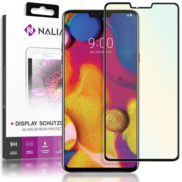 NALIA Schutzglas kompatibel mit LG V40 ThinQ, 9H Full-Cover Display Schutz Glas-Folie, Dünne Handy Schutzfolie Bildschirm-Abdeckung, Schutz-Film Clear HD Screen Protector - Transparent (schwarz) – Bild 1