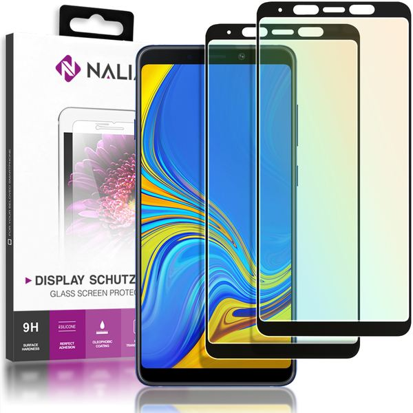 NALIA (2-Pack) Schutzglas kompatibel mit Samsung Galaxy A8 Plus, 9H Full-Cover Display Schutz Glas-Folie, Dünne Handy Schutzfolie Bildschirm-Abdeckung HD Schutz-Film Protector - Transparent (schwarz) – Bild 1