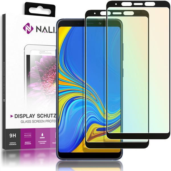 NALIA (2-Pack) Schutzglas kompatibel mit Samsung Galaxy A9 (2018), 9H Full-Cover Display Schutz Glas-Folie, Dünne Handy Schutzfolie Bildschirm-Abdeckung Schutz-Film Protector - Transparent (schwarz) – Bild 1