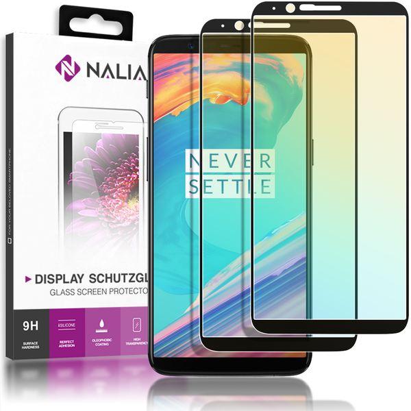 NALIA 2-Pack Display-Schutzglas kompatibel mit OnePlus 5T, Handy Bildschirm Glas Film Abdeckung, Dünne Schutz-Folie, Smart-Phone TPU Screen Protector - Kristall-Klar Transparent (schwarz) – Bild 1
