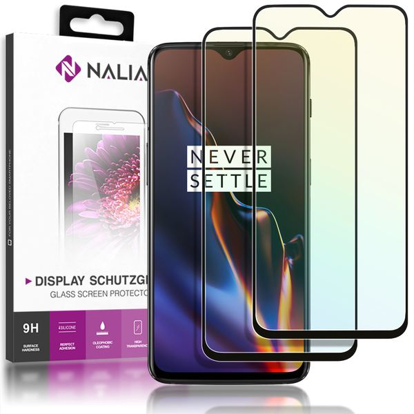 NALIA 2-Pack Display-Schutzglas kompatibel mit OnePlus 6T, Handy Bildschirm Glas Film Abdeckung, Dünne Schutz-Folie, Smart-Phone TPU Screen Protector - Kristall-Klar Transparent (schwarz) – Bild 1