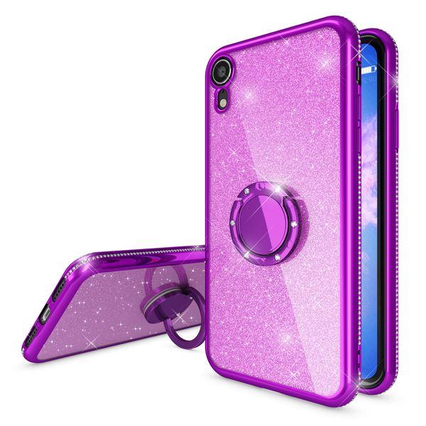 NALIA Ring Hülle kompatibel mit Apple iPhone XR, Glitzer Handyhülle Ultra-Slim Silikon Case Back-Cover mit 360-Grad Fingerhalterung, Schutzhülle Glitter Handy-Tasche Bumper Etui Skin – Bild 9