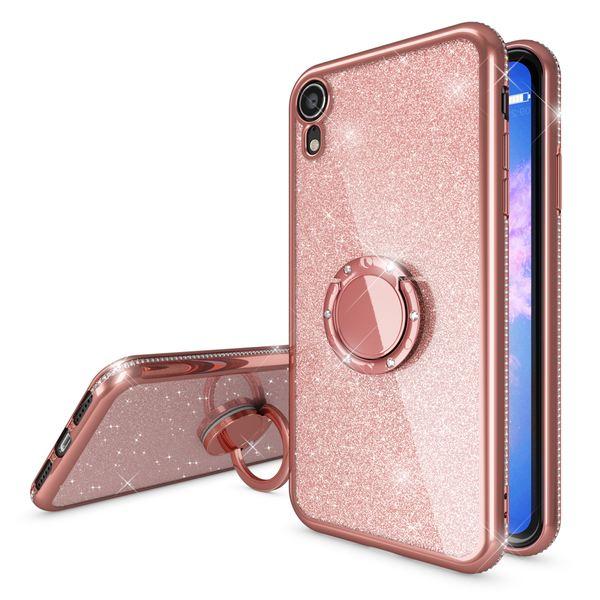 NALIA Ring Hülle kompatibel mit Apple iPhone XR, Glitzer Handyhülle Ultra-Slim Silikon Case Back-Cover mit 360-Grad Fingerhalterung, Schutzhülle Glitter Handy-Tasche Bumper Etui Skin – Bild 16