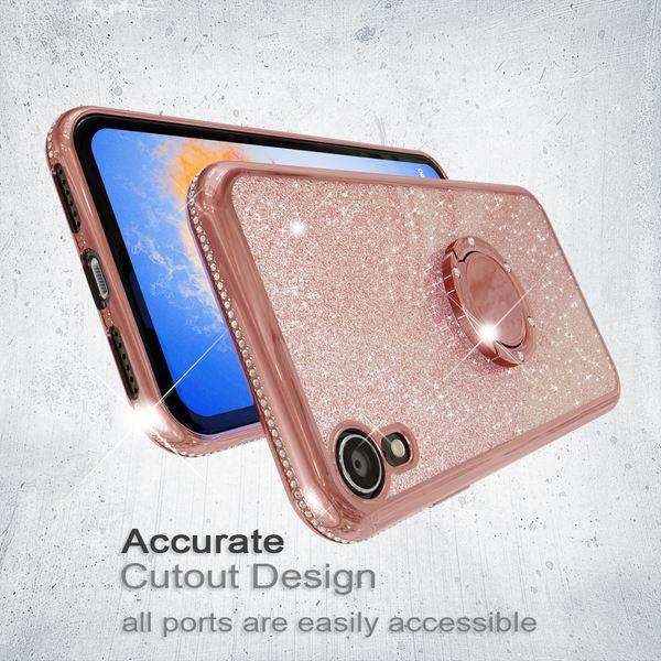 NALIA Ring Hülle kompatibel mit Apple iPhone XR, Glitzer Handyhülle Ultra-Slim Silikon Case Back-Cover mit 360-Grad Fingerhalterung, Schutzhülle Glitter Handy-Tasche Bumper Etui Skin – Bild 20