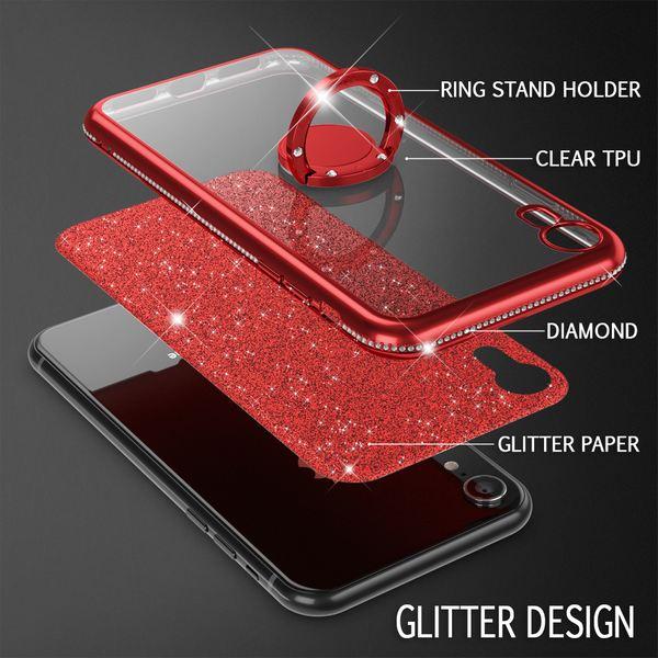 NALIA Ring Hülle kompatibel mit Apple iPhone XR, Glitzer Handyhülle Ultra-Slim Silikon Case Back-Cover mit 360-Grad Fingerhalterung, Schutzhülle Glitter Handy-Tasche Bumper Etui Skin – Bild 11