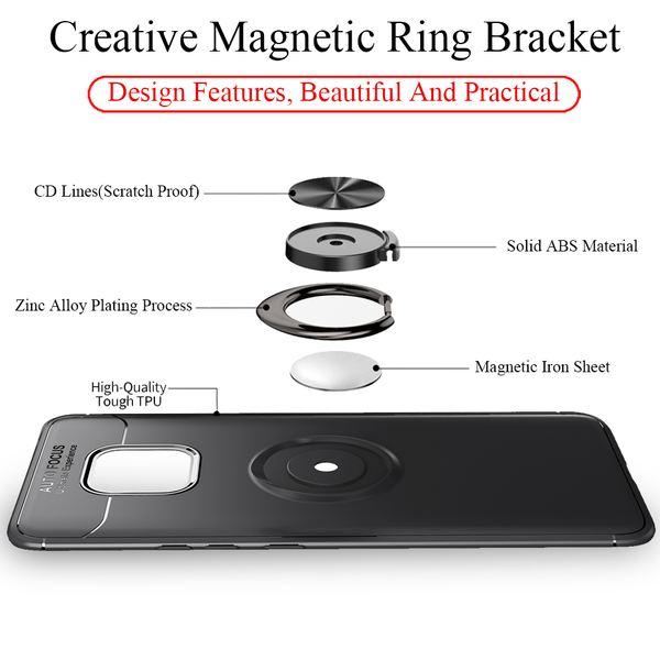 NALIA Ring Hülle kompatibel mit Huawei Mate20 Pro, Magnetische Silikon Handyhülle für KFZ-Halterung 360-Grad Finger-Halter, Dünnes Kickstand Cover Schutzhülle Ständer Case Slim Etui Bumper - Schwarz – Bild 4
