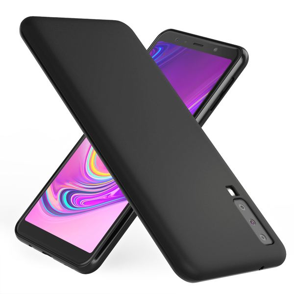 NALIA Hülle kompatibel mit Samsung Galaxy A7 2018, Ultra-Slim Handyhülle Silikon Case Cover, Dünne matte Schutzhülle, Etui Handy-Tasche Back-Cover Bumper, TPU Smart-Phone Gummihülle - Schwarz – Bild 1