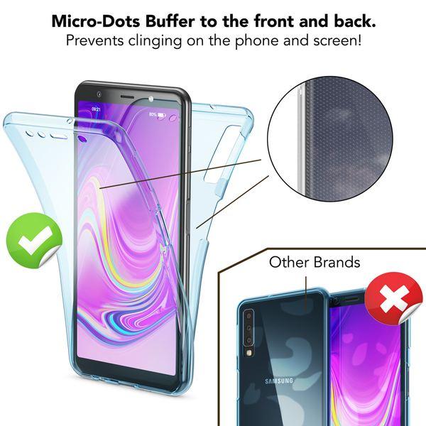 NALIA 360 Grad Hülle kompatibel mit Samsung Galaxy A7 2018, Full-Cover Vorne Hinten Rundum Handyhülle Doppel-Schutz, Ganzkörper Silikon Case Dünn Transparent Display-Schutz Bumper – Bild 4
