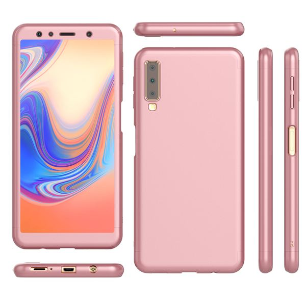 NALIA 360 Grad Handyhülle kompatibel mit Samsung Galaxy A7 2018, Full-Cover & Glas vorne hinten Hülle Doppel-Schutz, Dünn Ganzkörper Case Etui Handy-Tasche, Bumper & Displayschutz – Bild 8