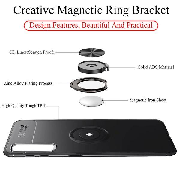 NALIA Ring Hülle kompatibel mit Samsung Galaxy A7 2018, Schutzhülle Cover magnetische Silikon Handyhülle für KFZ-Halterung 360-Grad Finger-Halter, Case Ständer Slim Etui Bumper – Bild 5